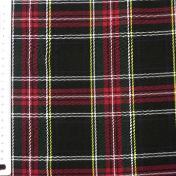 Bekleidungsstoff Schottenkaro Kariert schwarz rot 1,5m Breite – Bild 2