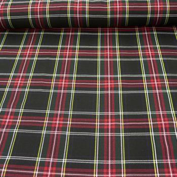 Bekleidungsstoff Schottenkaro Kariert schwarz rot 1,5m Breite – Bild 1