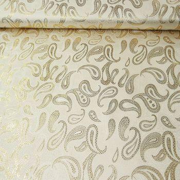Lurex Jaquard Stoff Paisley weiß goldfarbig 1,5m Breite – Bild 1