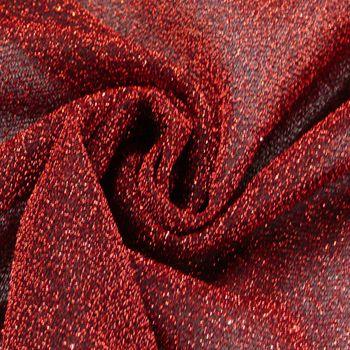 Lurexstoff Glitzerstoff Faschingsstoff elastisch Glitzer rot 1,5m Breite – Bild 1
