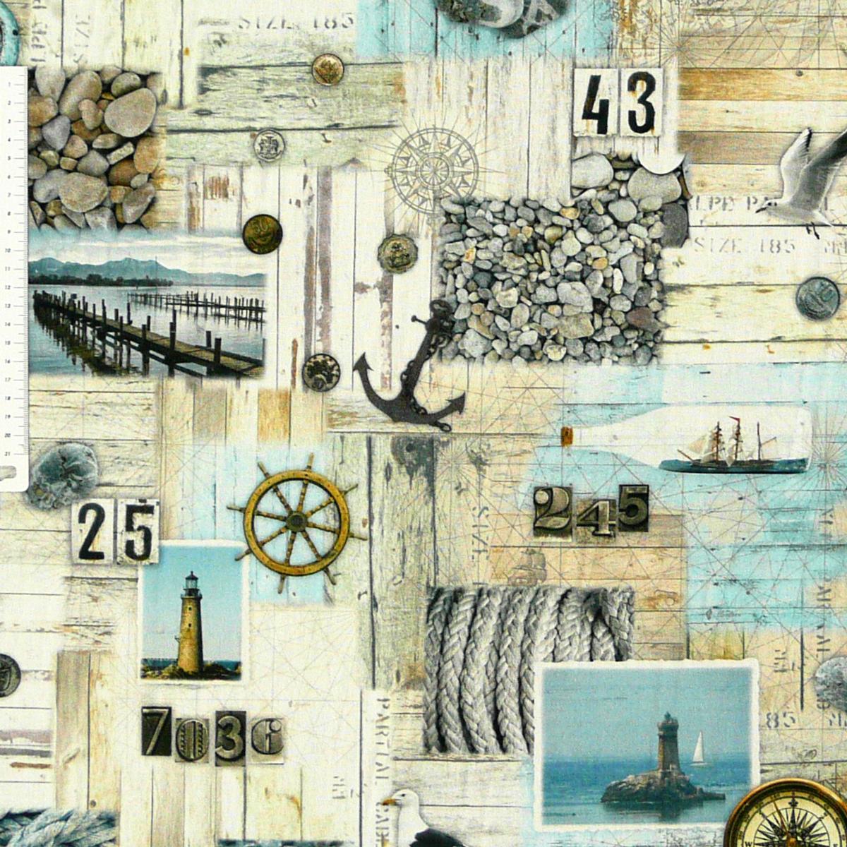 Dekostoff Halbpanama Digitaldruck Nordisch Maritim grau blau 1,40m breit
