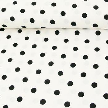 Polyester Punkte weiß schwarz 1,5m Breite