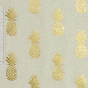 Dekostoff weiß goldfarbig metallic Ananas – Bild 2