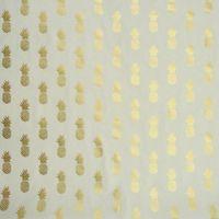 Dekostoff weiß goldfarbig metallic Ananas