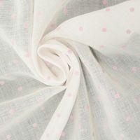Gardinenstoff Stores Leinenstruktur weiß mit Punkten rosa 2,80m Höhe 001