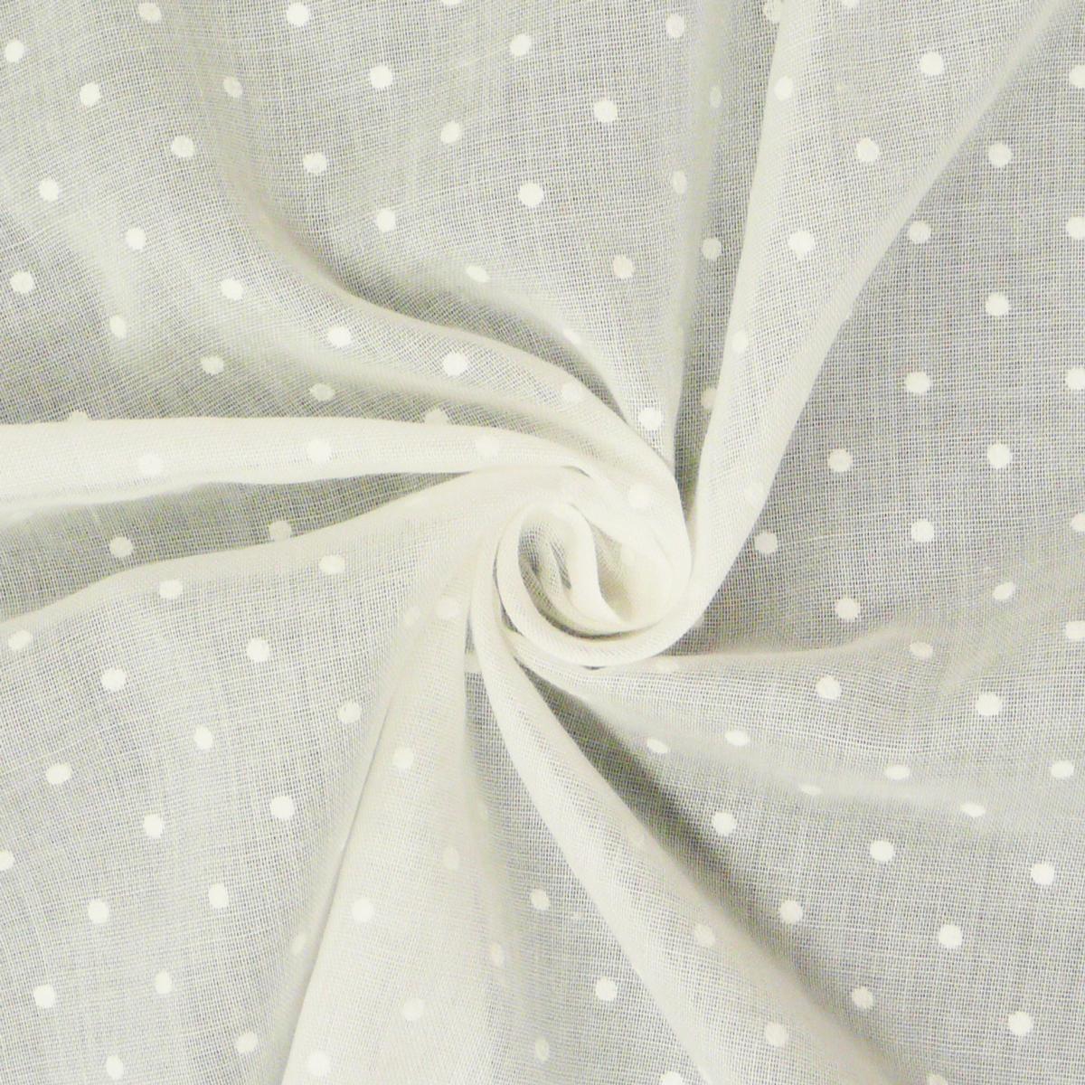 Gardinenstoff Stores Leinenstruktur weiß mit Punkten weiß 2,80m