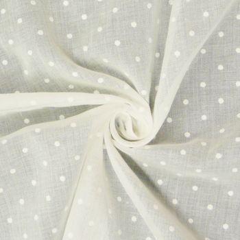 Gardinenstoff Stores Leinenstruktur weiß mit Punkten weiß 2,80m Höhe