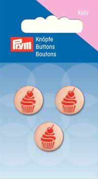 Prym Kinder Knopf Knöpfe Muffin 15mm 4 Stück pink/weß