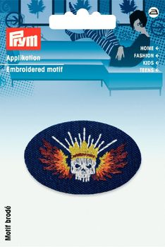 Prym Applikation Patch mit Totenkopf blau/bunt 7,5x4,5cm