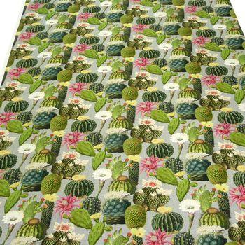 Baumwollstoff Stoff Dekostoff Digitaldruck Kaktus Kakteen grau grün – Bild 3