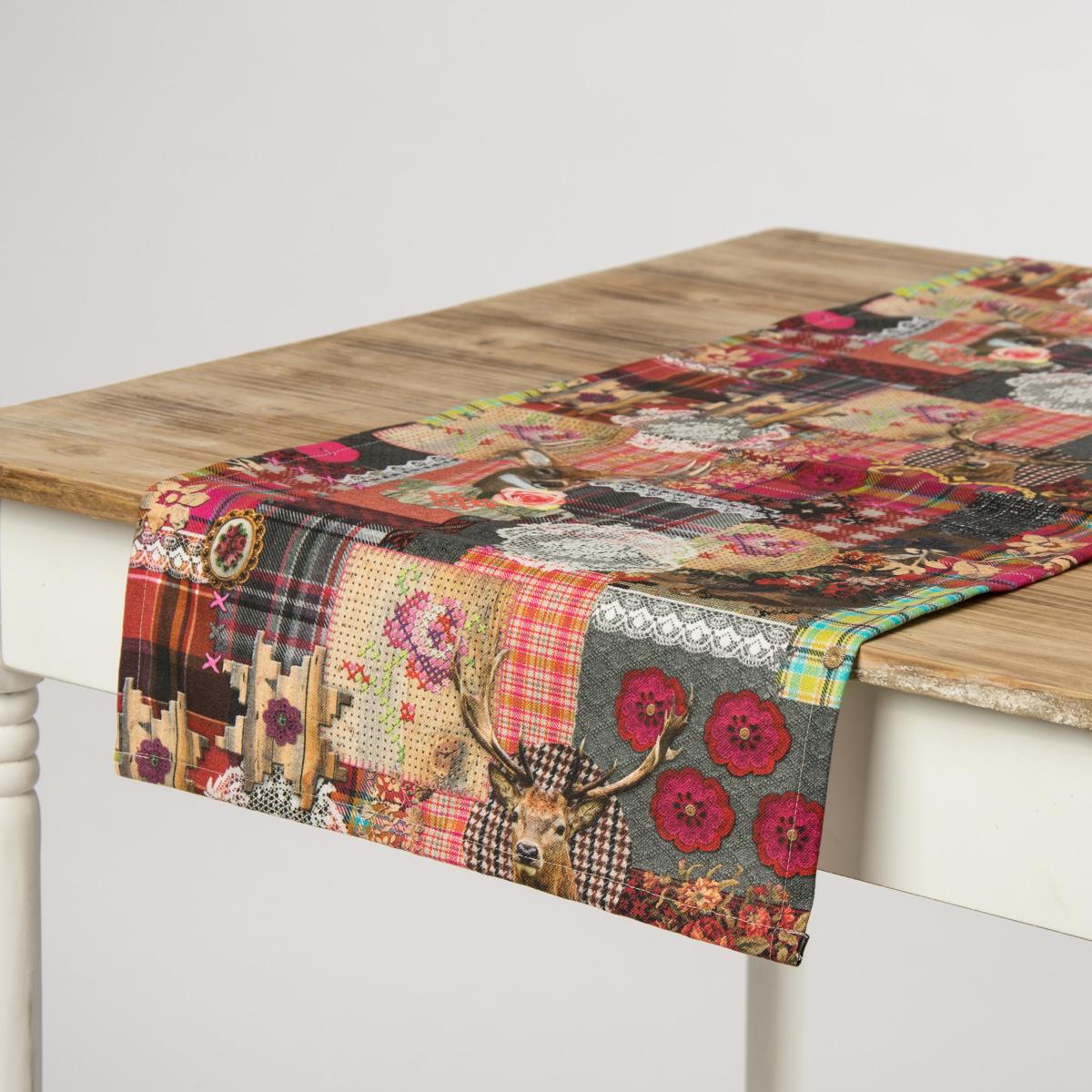 sch ner leben tischl ufer digitaldruck patchwork hirsch 40x160cm wohntextilien tischw sche. Black Bedroom Furniture Sets. Home Design Ideas