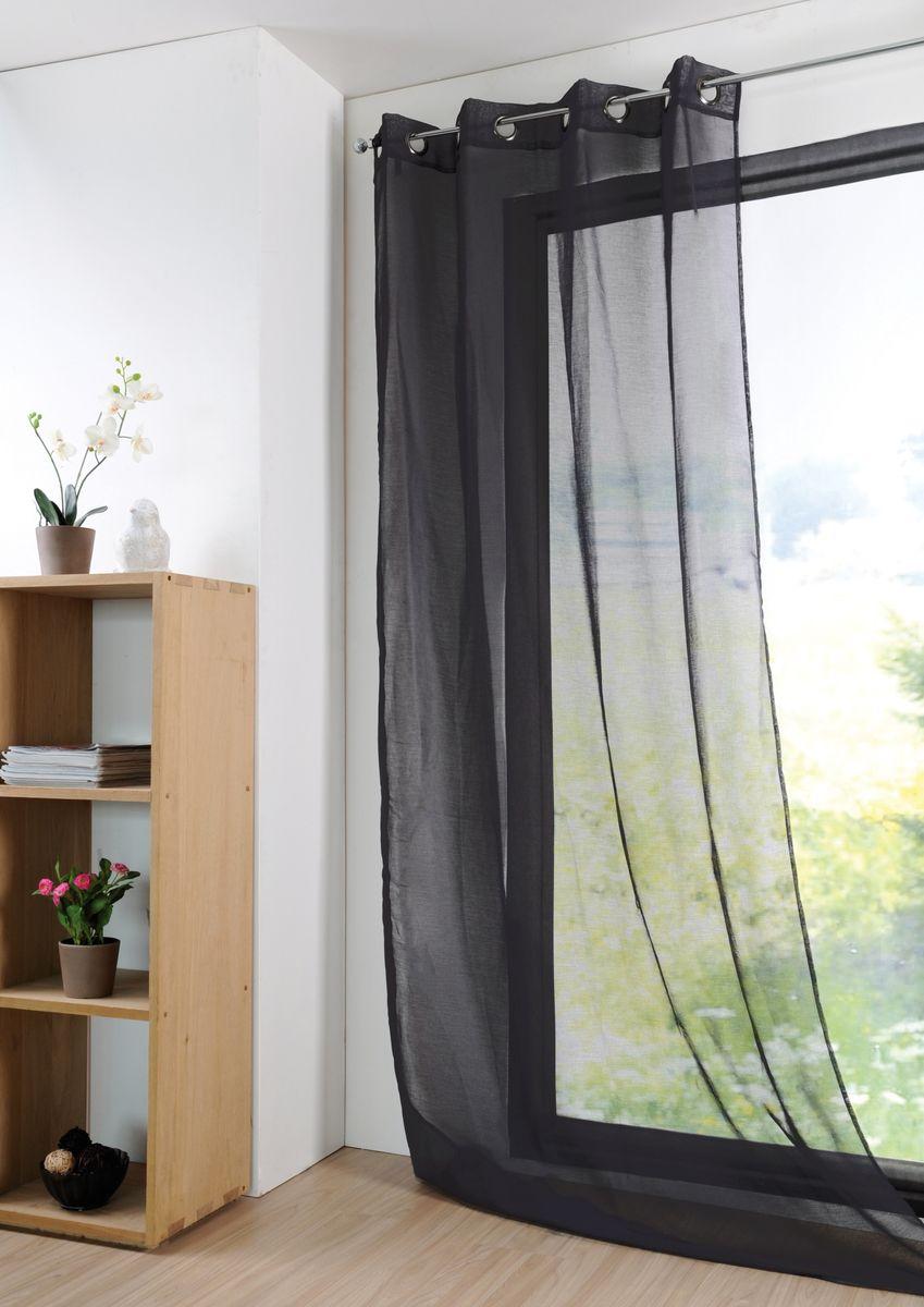 fertiggardine sengardine einfarbig voile struktur schwarz 135x260cm inspirationen stilwelten. Black Bedroom Furniture Sets. Home Design Ideas