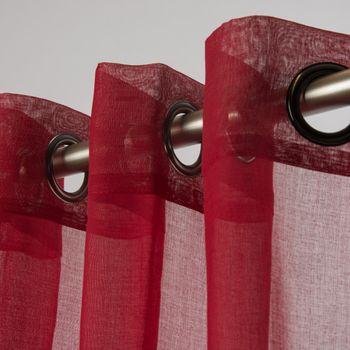 Fertiggardine Ösengardine einfarbig Voile Struktur rot 135x260cm – Bild 1