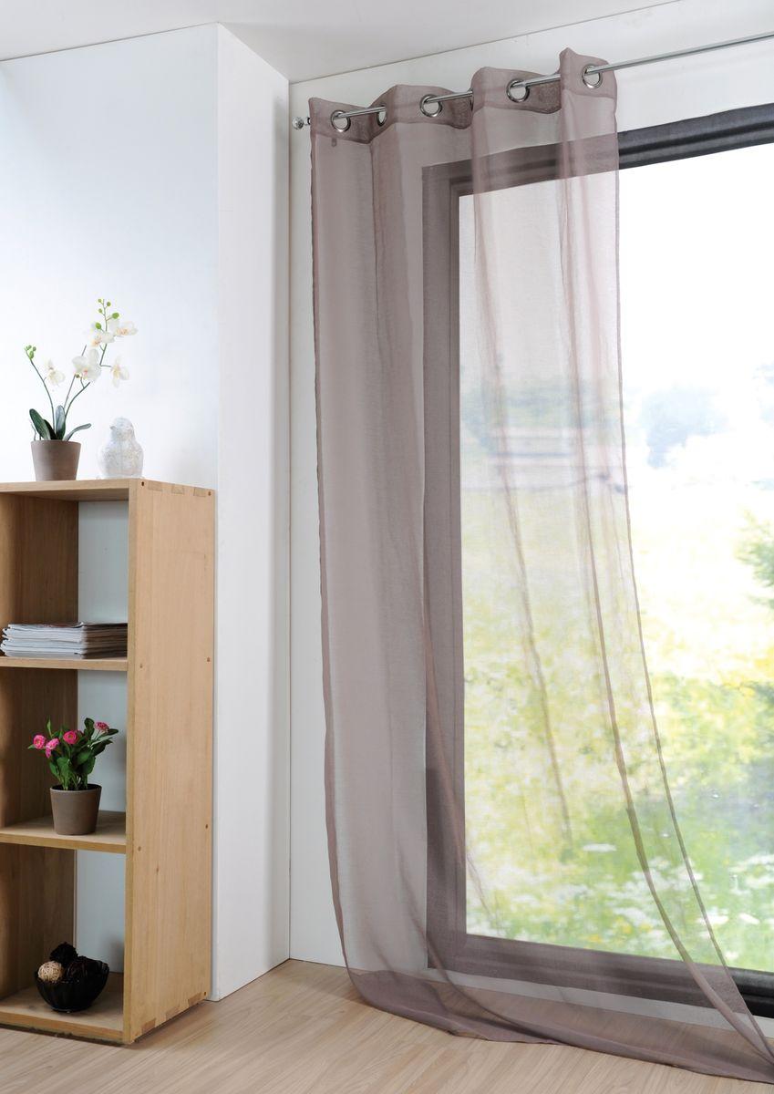fertiggardine sengardine einfarbig voile struktur taupe. Black Bedroom Furniture Sets. Home Design Ideas