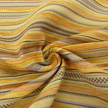Möbelstoff Bezugsstoff KRUMBACH Streifen gelb braun orange – Bild 1