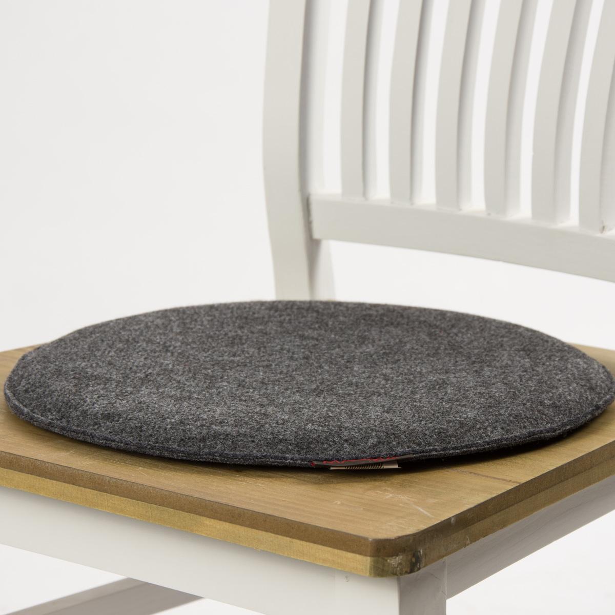 stuhlkissen avaro filz rund anthrazit meliert 35x2cm wohntextilien kissen klassisch uni. Black Bedroom Furniture Sets. Home Design Ideas