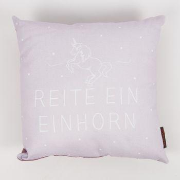 Kissen mit Füllung Reite ein Einhorn! altrosa weiß 40x40cm – Bild 1