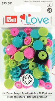 Prym Color Snaps Druckknöpfe Blume Ø13,6mm pink grün türkis 21 Stück