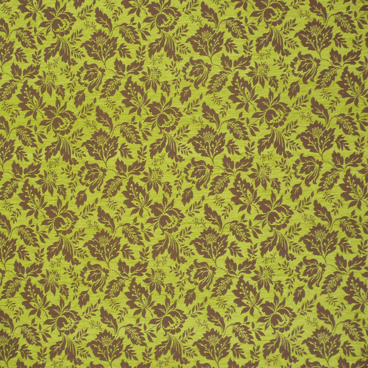 Möbelstoff Bezugsstoff Jacquard WAIBLINGEN Blume braun grün