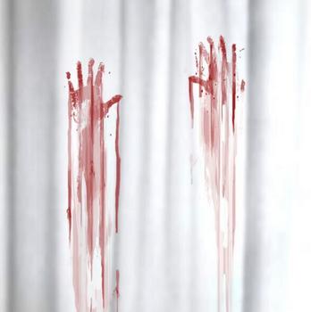 Duschvorhang Blutbad weiß rot 180x180cm – Bild 1