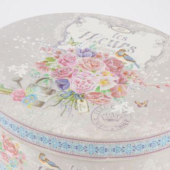 Box Dose les Fleurs oval groß grau 24x10cm – Bild 2