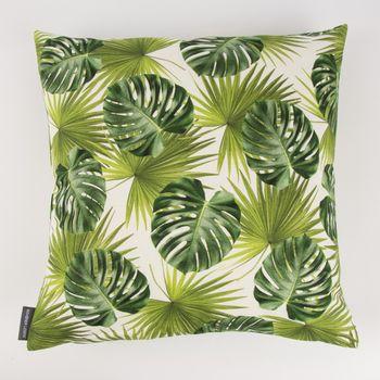 Schöner Leben Kissenhülle Palmen Blatt grün weiß 50x50cm