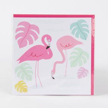 Karte mit Umschlag 12x12cm Flamingo – Bild 1