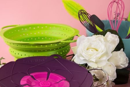 Kochblume Gourmetzange Servierzange Silikon mit Edelstahlkern 33cm pink – Bild 6