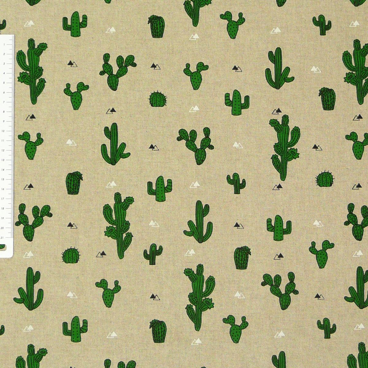 Dekostoff Halbpanama Leinenlook natur Kakteen Kaktus 1,40m Breite