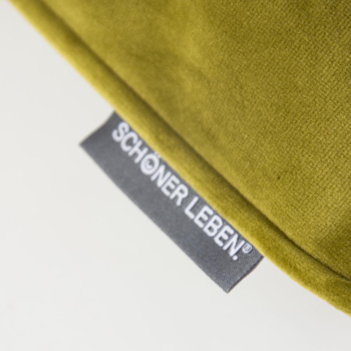 sch ner leben samtkissen mit kederumrandung und federf llung moosgr n 70x70cm wohntextilien. Black Bedroom Furniture Sets. Home Design Ideas