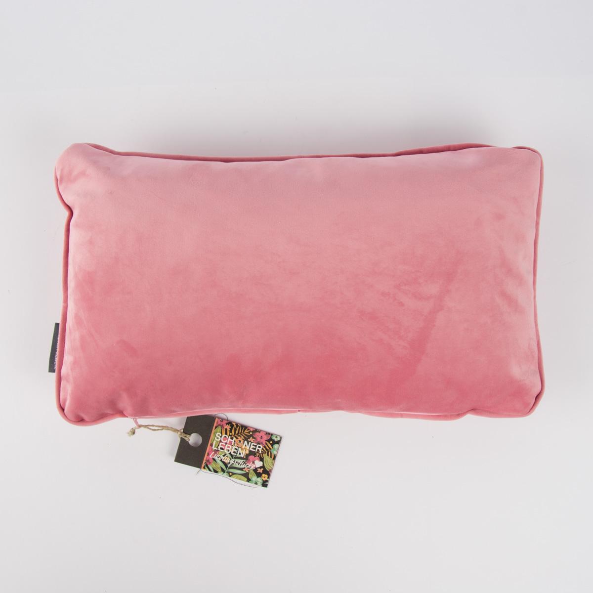 SCHÖNER LEBEN.  Samtkissen mit Kederumrandung und Federfüllung rosa 30x50cm