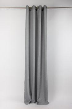 Fertiggardine Ösengardine Struktur uni grau 140x260cm – Bild 6