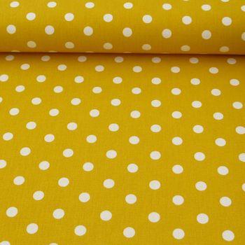 Baumwollstoff Punkte groß Ø 7mm gelb weiß