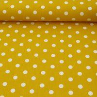 Baumwollstoff Punkte groß Ø 7mm gelb weiß 001
