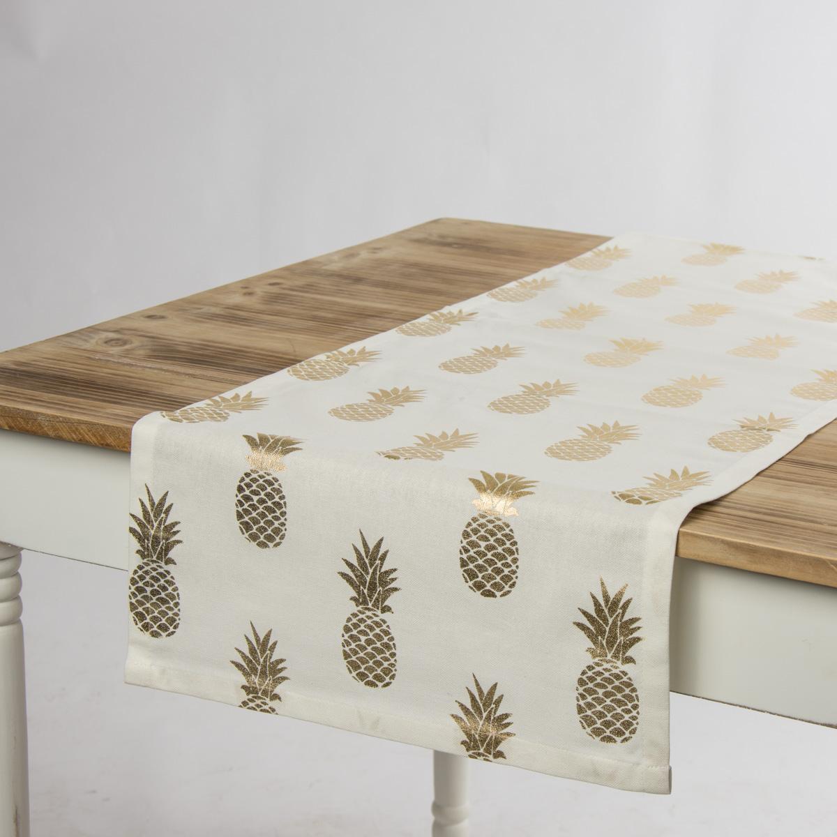 SCHÖNER LEBEN. Tischläufer Ananas weiß goldfarbig metallic 40x160cm