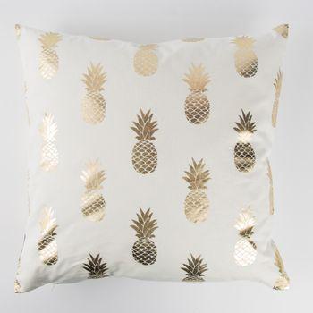 SCHÖNER LEBEN. Kissenhülle Ananas weiß goldfarbig metallic 40x40cm – Bild 1