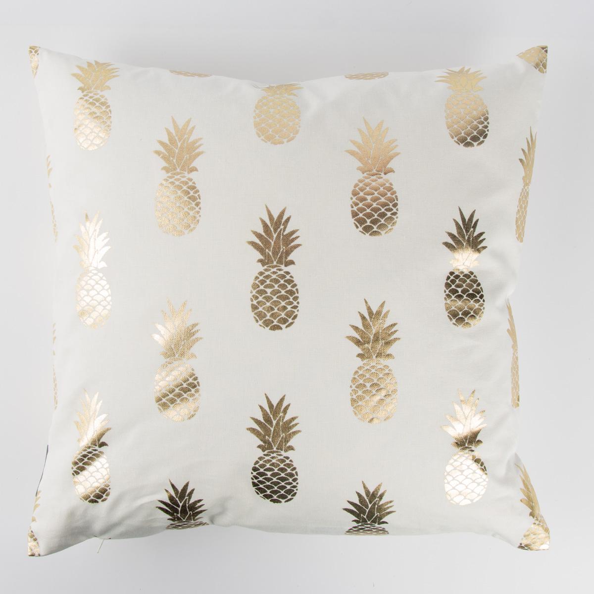 SCHÖNER LEBEN. Kissenhülle Ananas weiß goldfarbig metallic 50x50cm