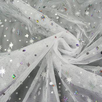 Tüll weich mit Glitzer Sterne Punkte weiß 1,5m Breite – Bild 1
