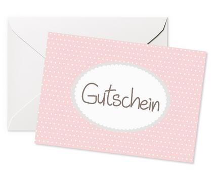 Glückwunschkarte Gutschein rosa aufklappbar mit Umschlag 11,5x16cm