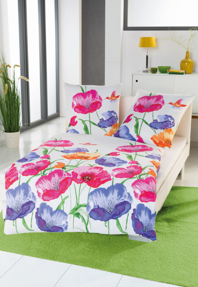 bettw sche gro e blumen wei rosa blau gr n 135x200cm wohntextilien bettw sche bettw sche. Black Bedroom Furniture Sets. Home Design Ideas