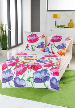 Bettwäsche große Blumen weiß rosa blau grün 135x200cm – Bild 2