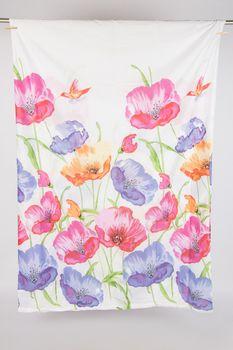 Bettwäsche große Blumen weiß rosa blau grün 135x200cm – Bild 4