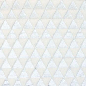 Fellstoff Dreiecke silberfarbig wollweiß 1,70m Breite