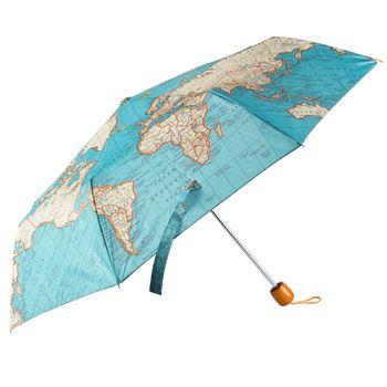 Regenschirm Weltkarte blau beige 56x38cm