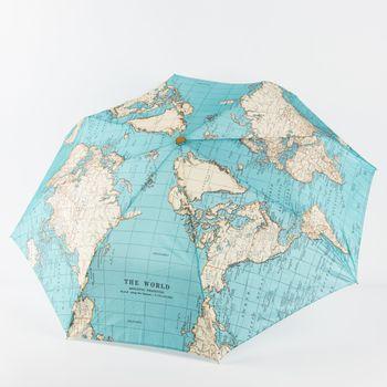 Regenschirm Weltkarte blau beige 56x38cm – Bild 1