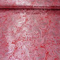 Lurex Jaquard Stoff Paisley Ornament rot silberfarbig