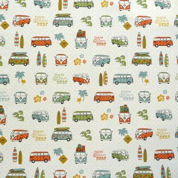 Baumwollstoff Stoff Dekostoff Lizenzstoff VW Summer tropical Retro – Bild 1