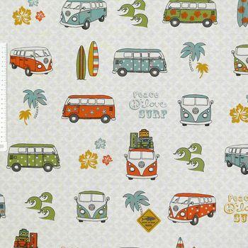 Baumwollstoff Stoff Dekostoff Lizenzstoff VW Summer tropical Retro – Bild 2
