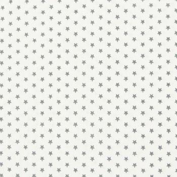 Baumwollstoff Mini Sterne weiß grau