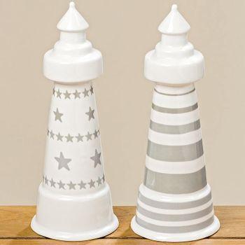 Leuchtturm Clark Porzellan weiß grau H:26cm – Bild 4